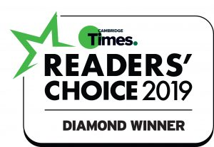 Cambridge Times Readers Choice 2019 Diamond Winner Badge